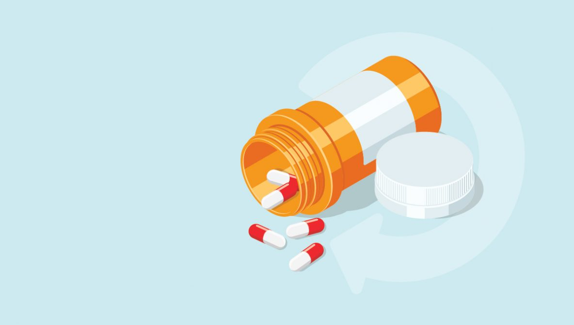 Repeat symbol and pills spilling out of a prescription bottle to symbolize take back day