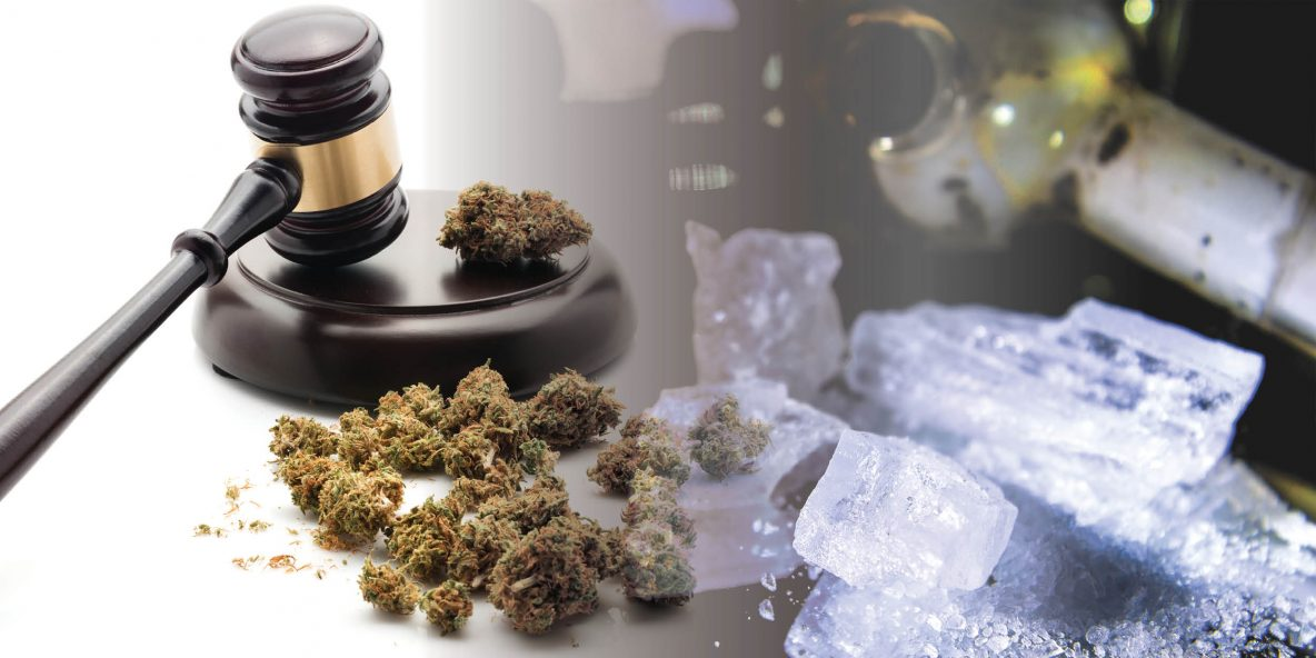 Judge's gavel hitting the table due to methamphetamine addiction after recreational marijuana legalization
