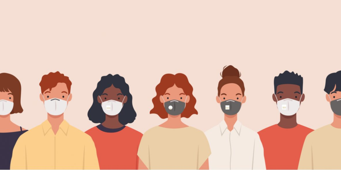 people wearing faces masks covid concept